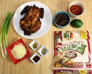Chicken & black bean burrito ingredients