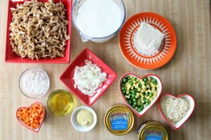 Homemade Tuna Helper Creamy Pasta is a healthier version of the popular boxed dinner. It uses canned tune, wheat noodles, frozen vegetables, and cheese.