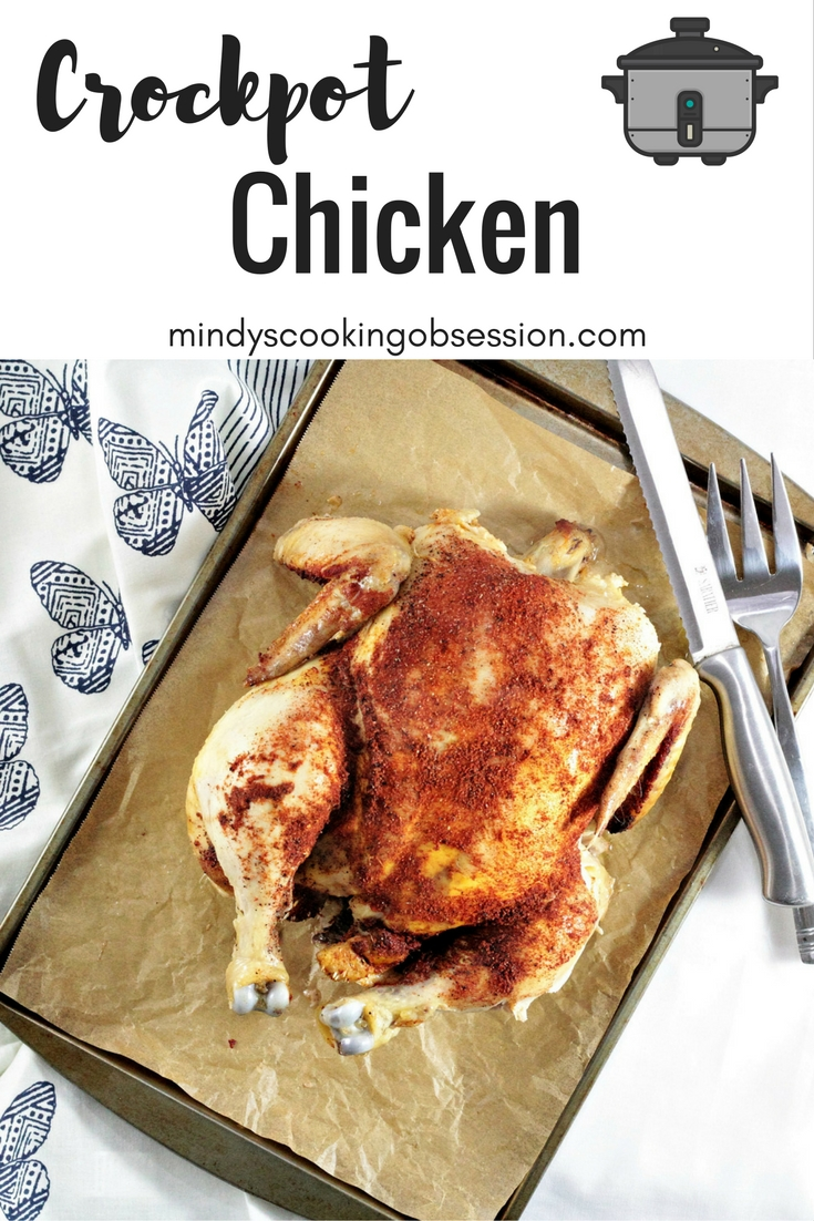 Crockpot Chicken requires only a whole chicken and 5 ingredients, is super simple, and tastes delicious. Great for those days when you are on the go!