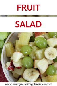 This is a refreshing fruit salad that combines canned pineapple, fresh apples and grapes with coconut and honey with a dash of cinnamon. It is very flavorful.