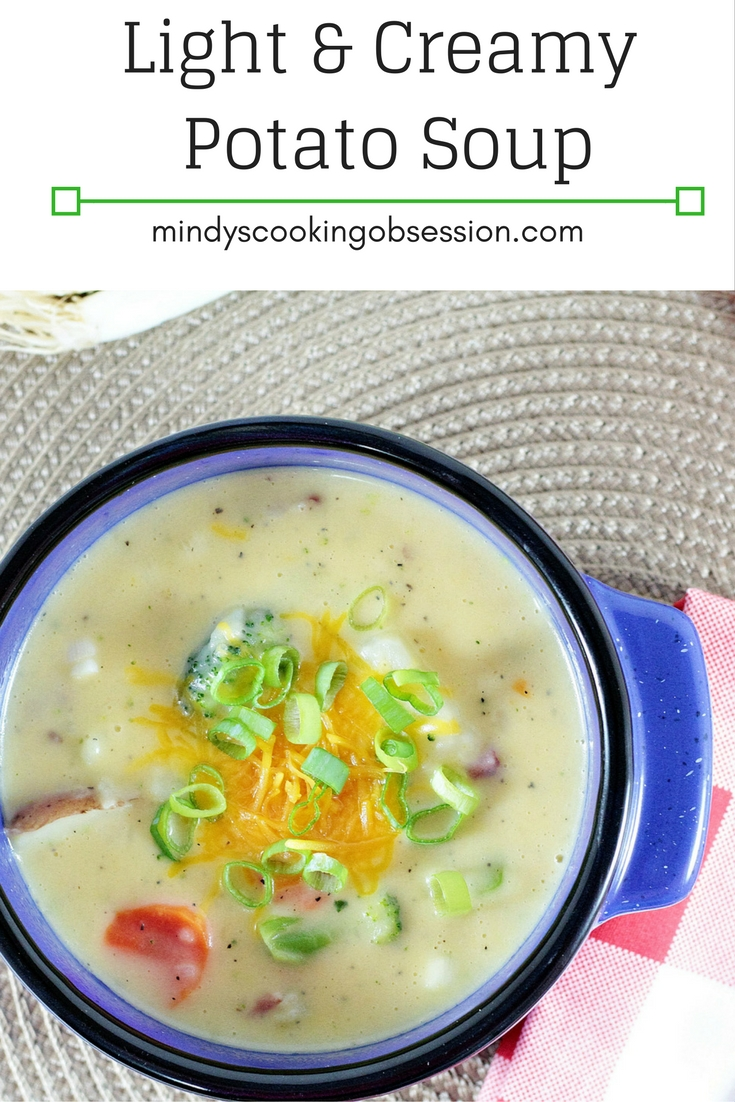 Are you looking for the perfect light potato soup? Low-fat milk and cheese as well as light sour cream make this soup creamy and light.