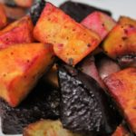 Round out any meal with this side dish of fried red potatoes, sweet potatoes, and beets that is delicious and packed with vitamins and high in fiber.