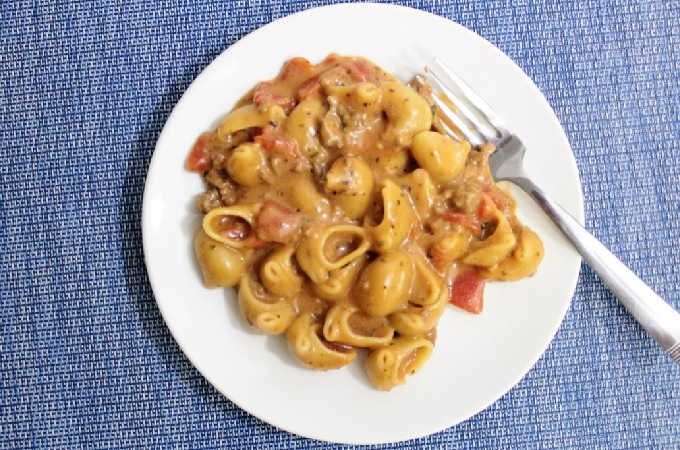 This Homemade Hamburger Helper Cheesy Italian Shells combines ground beef, pasta, tomatoes, tomato sauce and spices to make a healthier version.