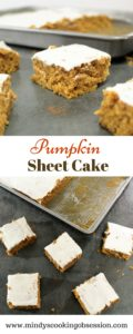 White flour combined with wheat flour as well as yogurt in the frosting make this recipe for Pumpkin Sheet Cake a little healthier than traditional recipes.