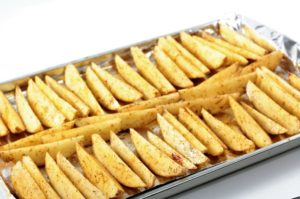 Potato Wedges are seasoned, drizzled with olive oil and then baked to perfection. They are easy to prepare and go great with beef, chicken, pork, or fish.