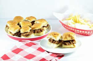 BBQ Pulled Pork Sliders uses bottled sauce and other spices and is prepared in the crock pot (slow cooker). Served on dinner rolls and great for a crowd.