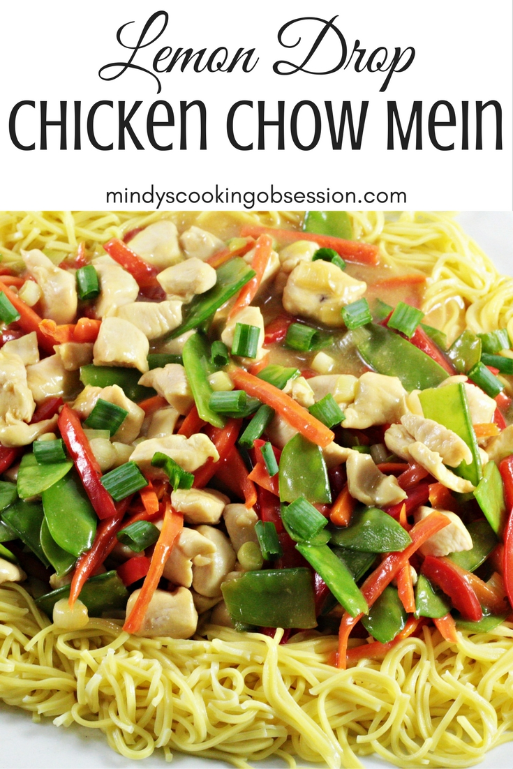 Lemon Drop Chicken Chow Mein combines chicken, chow mein noodles, fresh vegetables, soy sauce, garlic, and lemon drop candies. It is sweet and savory.