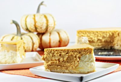 Pumpkin Layered Cheesecake has a shortbread crust with a layer of regular cheesecake and a layer of pumpkin cheesecake. So creamy and delicious!