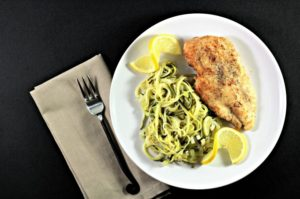 Chicken with Lemon Leek Zucchini Noodles (Zoodles) is easy, quick, and healthy. This is a great recipe for two, but can be doubled or tripled to feed more.