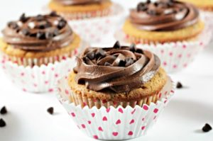 Peanut Butter Chocolate Chip Cupcakes: Made from scratch, super easy and quick. Adapted from Martha Stewart and topped with Dark Chocolate Frosting.