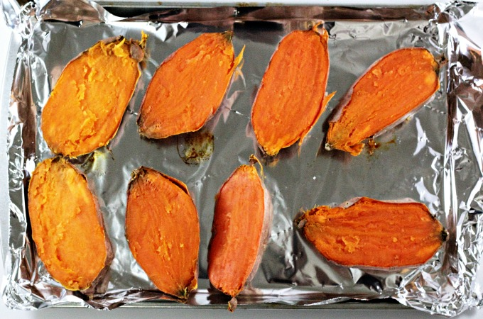 Twice Baked Sweet Potatoes only require 5 ingredients; butter, brown sugar, milk, mini marshmallows, and of course, sweet potatoes. Traditional and delicious!