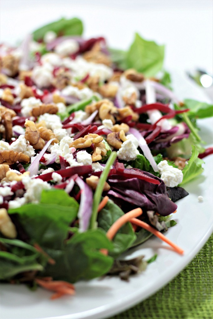 Baby Greens Salad with Beets & Goat Cheese also features red onion and walnuts, topped with orange vinaigrette. Great for winter or any time of the year.