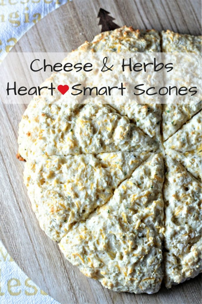 Cheese & Herbs Scones {Heart Smart} combine Bisquick, an egg, Greek yogurt, cheddar cheese, and dried herbs to make a fast and healthy addition to a meal.