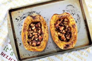Roasted Spaghetti Squash & Apples has a touch of olive oil, brown sugar, cinnamon, and butter to make it the perfect side dish or dessert.