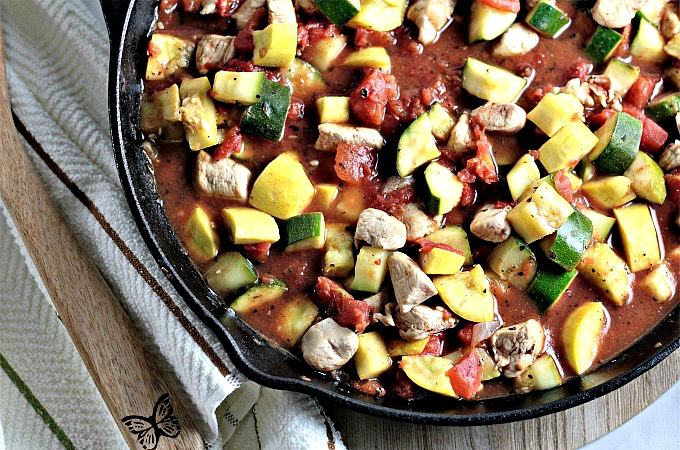Spicy Chicken, Squash, and Tomatoes features olive oil, chicken, zucchini, yellow squash, Hunt's canned tomatoes, and onions with herbs and spices.
