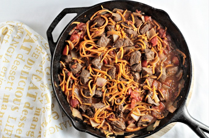 Skillet Beef Tagine with Spiralized Butternut Squash combines beef, shallots, tomatoes, spiralized butternut squash and spices to make a healthy dish.