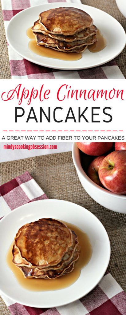 Apple Cinnamon Pancakes features pancake batter with the addition of brown sugar, cinnamon and apples. A great way to add fiber to your pancakes!