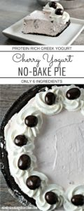 Cherry Yogurt No Bake Pie combines Greek yogurt, cream cheese, powdered sugar, and whipped topping in a chocolate crust. A healthier version of pie!