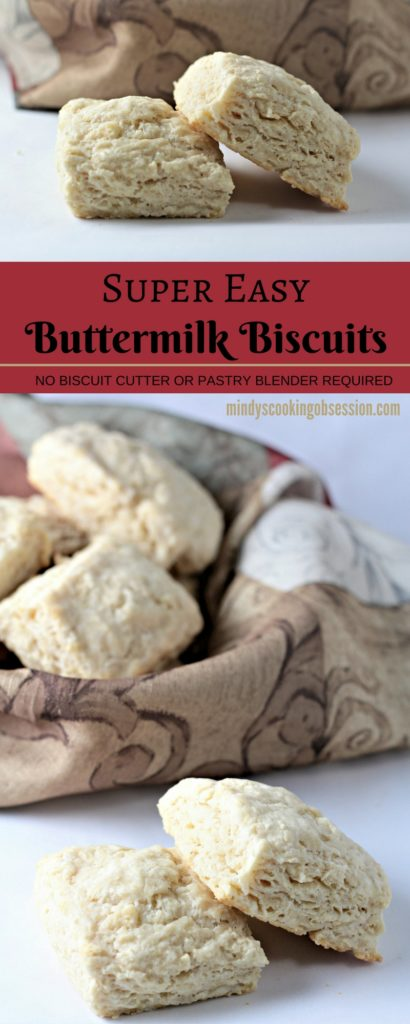 Super Easy Buttermilk Biscuits combine flour, buttermilk, grated butter, sugar, baking powder, baking soda and salt. Brush with milk and bake to perfection!