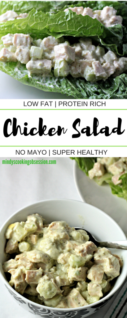 Super Healthy Chicken Salad combines chicken, cucumber, yogurt, avocado, salt, pepper and lime juice to make a dish with no mayo that is quick, easy and super healthy!