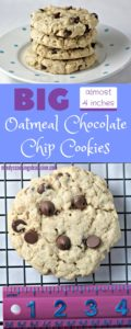 BIG Oatmeal Chocolate Chip Cookies are nearly 4 inches around! They are thick, yummy and stay together very well when you pick them up. So easy to make.