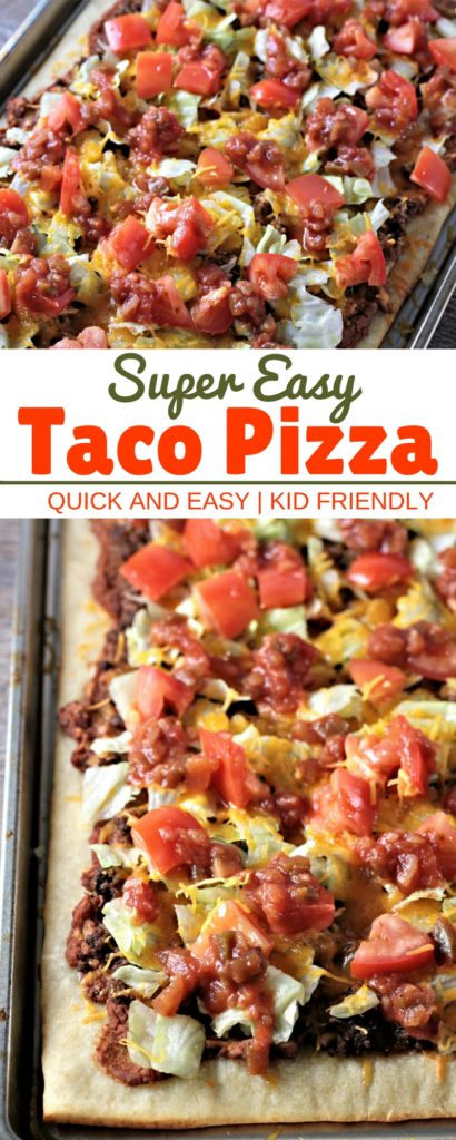 Super Easy Taco Pizza: Premade pizza dough, refried beans, seasoned ground beef, cheese, lettuce, tomatoes, and salsa. Quick, easy and kid friendly.