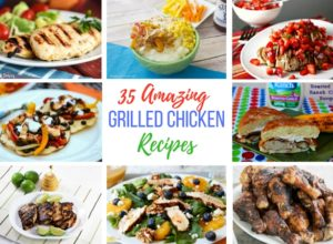 35 Amazing Grilled Chicken Recipes has grilled chicken in the form of kabobs, salads, sandwiches, wings, thighs, breasts, and even a mashed potato bowl.