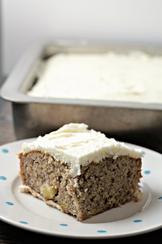 Hummingbird Cake (without nuts) has banana and pineapple, and does not have nuts. Topped with traditional cream cheese frosting.