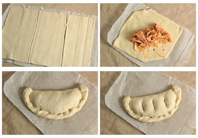 Chicken Calzones feature canned chicken, jar sauce, and Parmesan and mozzarella cheeses inside premade pizza crust to make a delicious and easy meal.