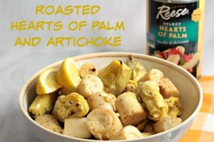 Roasted Hearts of Palm and Artichoke combines hearts of palm and artichoke with olive oil, garlic, lemon juice, salt and pepper. An easy vegan side dish.