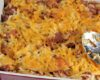 Cheesy Farmland Hickory Smoked Sausage Hash Brown Casserole: Sausage, packaged hash browns, sour cream, cheese, and onion to make comfort food at its best!