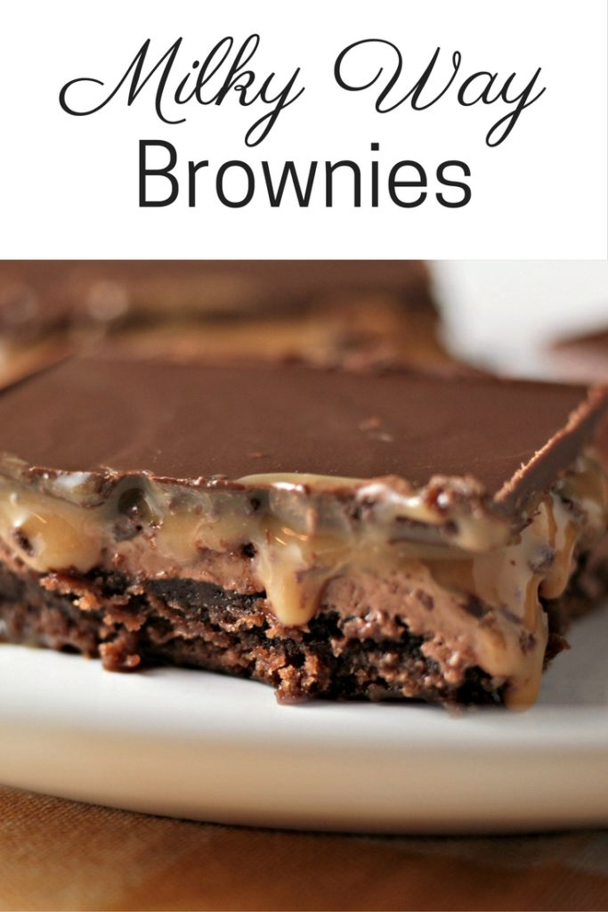 Milky Way Brownies feature boxed brownies topped with a layer of homemade nougat, a layer of caramel, and a layer of chocolate. A truly decadent treat!