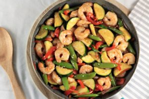 Sesame Ginger Teriyaki Shrimp Stir Fry combines fresh vegetables with shrimp, and Organic Seeds of Change Simmering Sauce for a delicious, quick, easy meal.