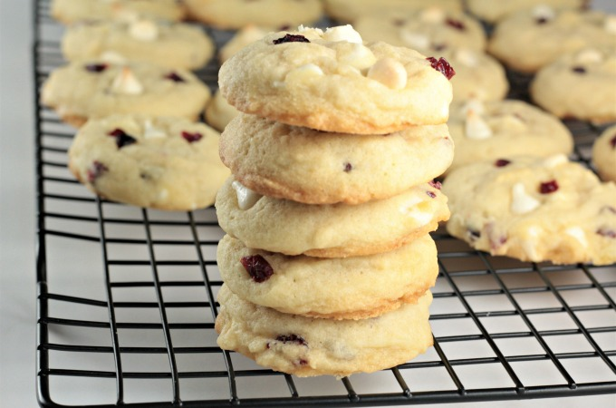 White Chocolate Chip Craisin Cookies feature sugar cookie dough with creamy white chocolate chipsand tart, sweet craisins. A delicious and satisfying treat!