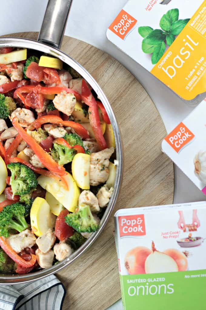 Basil Chicken and Vegetables combines olive oil, garlic, onion, basil chicken, zucchini, broccoli and bell pepper to make a delicious and healthy dish.